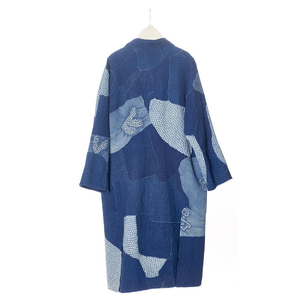 Reverse of blue and indigo patchwork kantha oversized coat