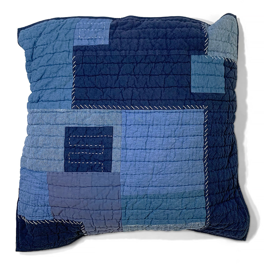 "Large Patchwork Quilted Sashiko Throw Pillow 24"" x 24"""