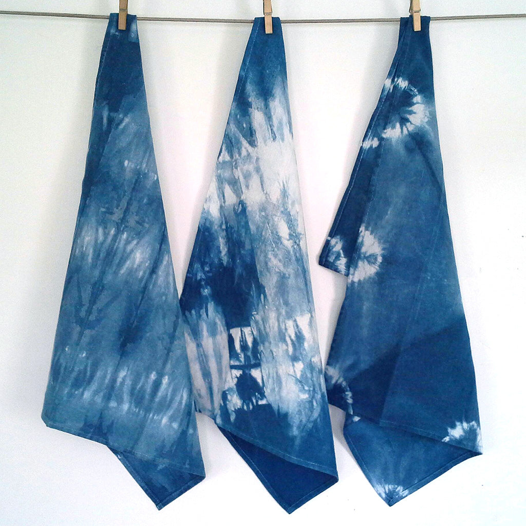 three Shibori Linen Tea Towels