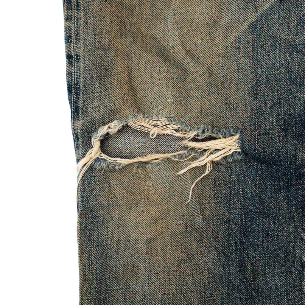 Transnomadica Sewing Chop Shrunk Leather Patch Selvedge Jeans W27 x L27 cuffed