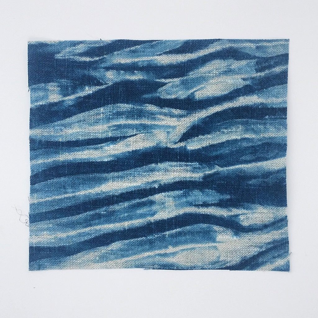Shibori Linen Fabric Bundle, Indigo Dyed Sampler, for Boro and Patches