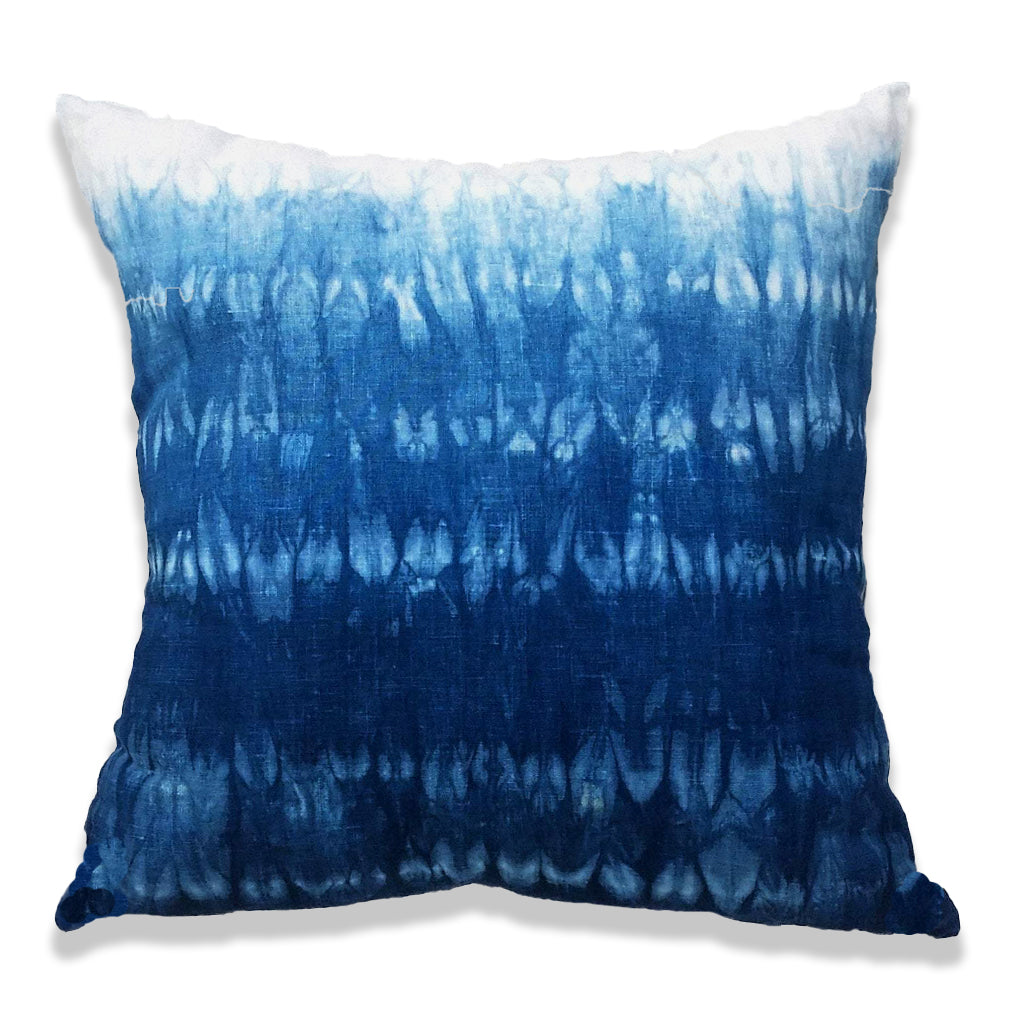 Shibori Stitch Resist Indigo Pillow Cover