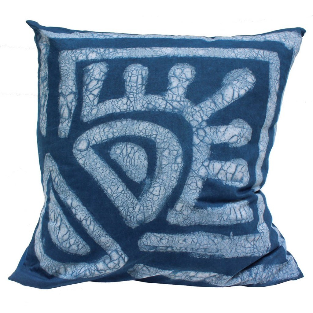 Indigo Dyed Sunrise Throw Pillow