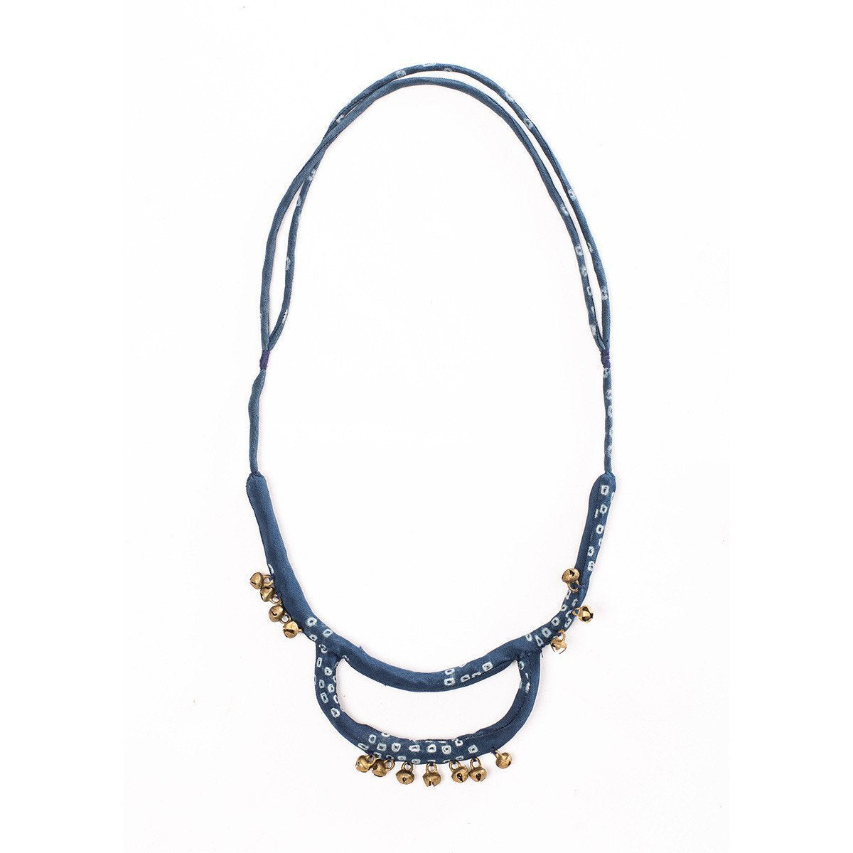 Indigo silk fabric necklace with numerous engraved gold bell charms