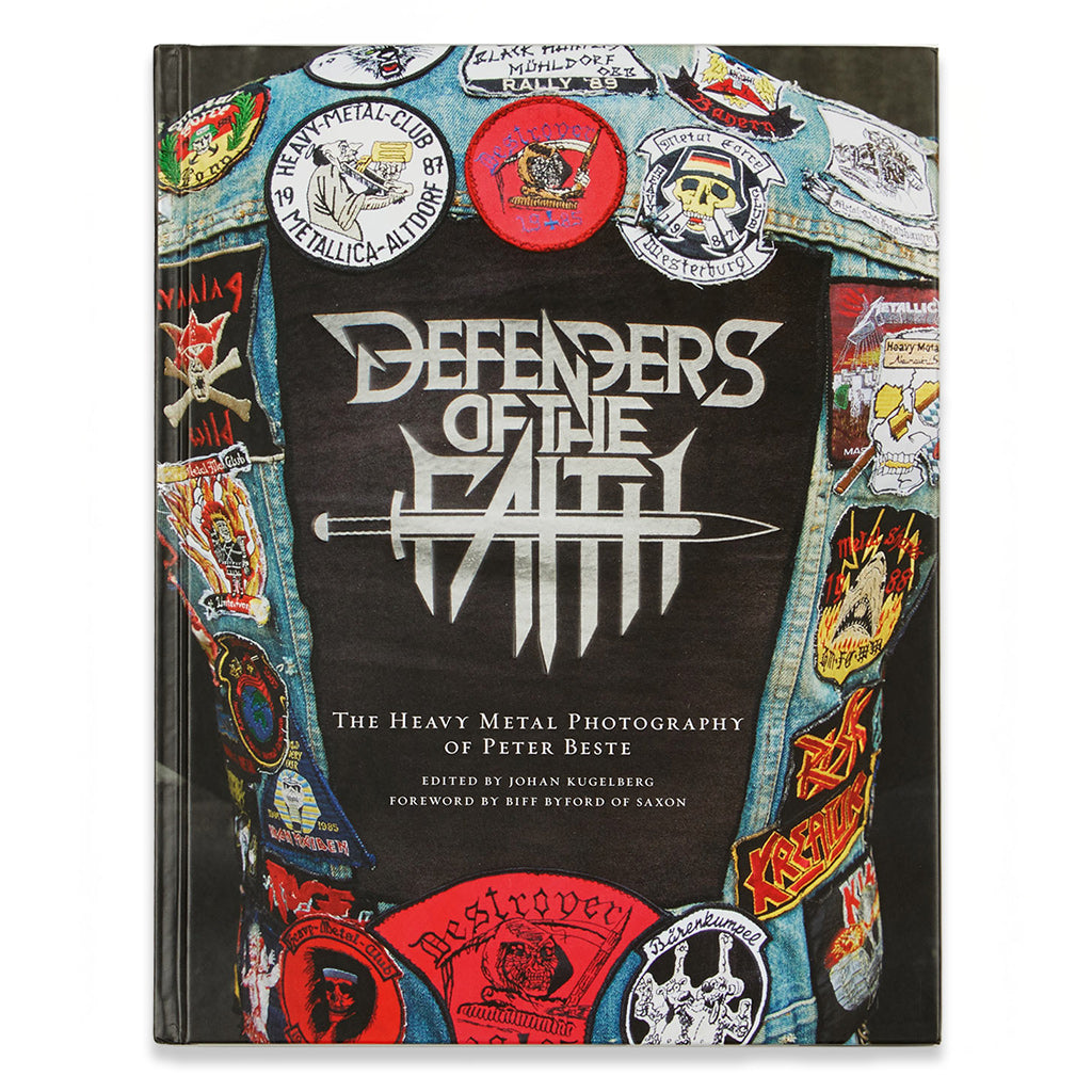 Front cover of the book Defenders of the Faith: The Heavy Metal Photography of Peter Beste