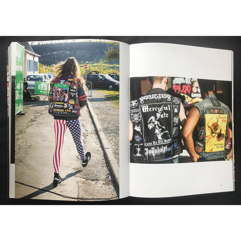 Open pages of the book Defenders of the Faith: The Heavy Metal Photography of Peter Beste