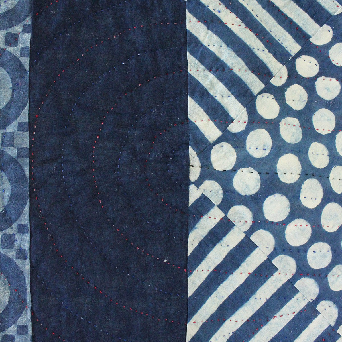Detail of pattern on indigo dyed quilt