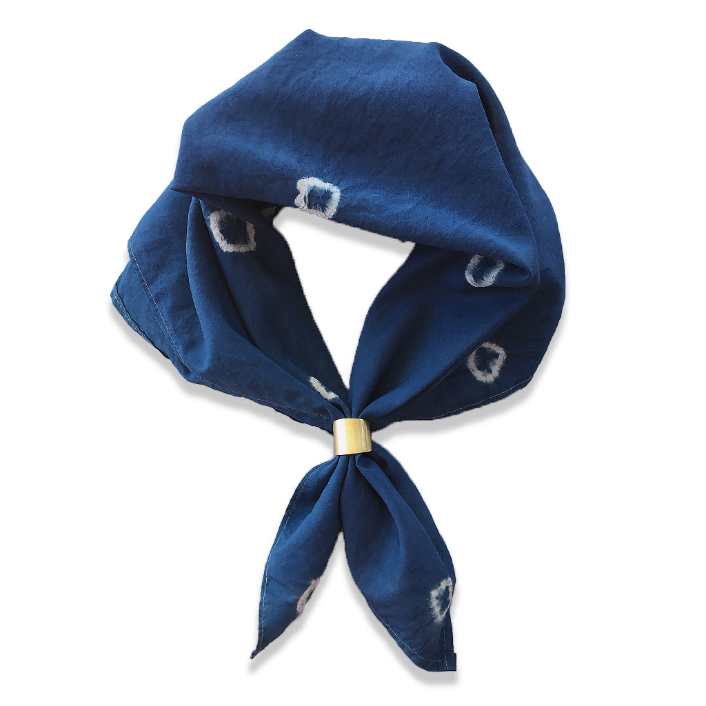 Natural Indigo Silk Spotted Scarf Dark by Indigo Works