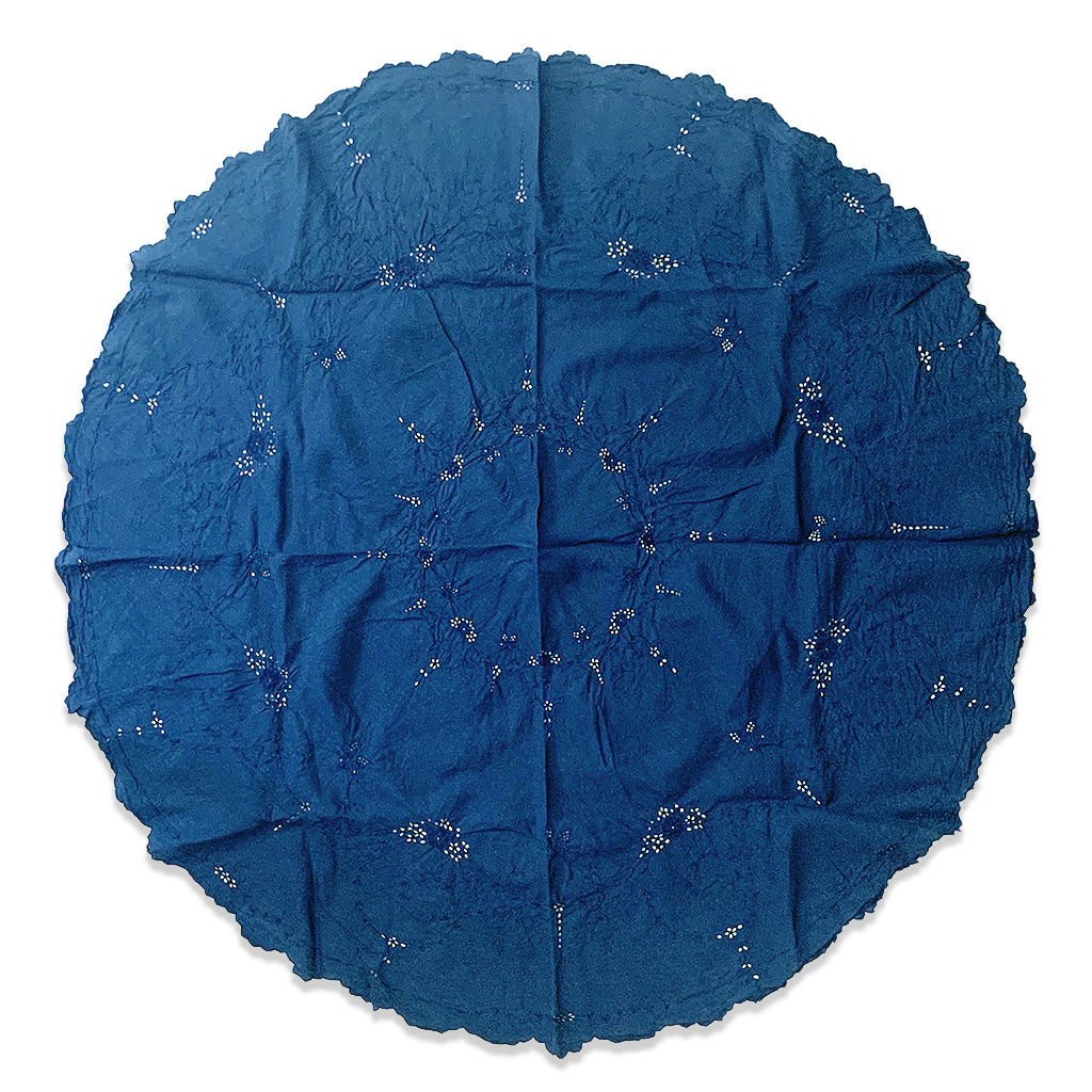 Indigo over dyed vintage round table cloth with embroidery by Indiko