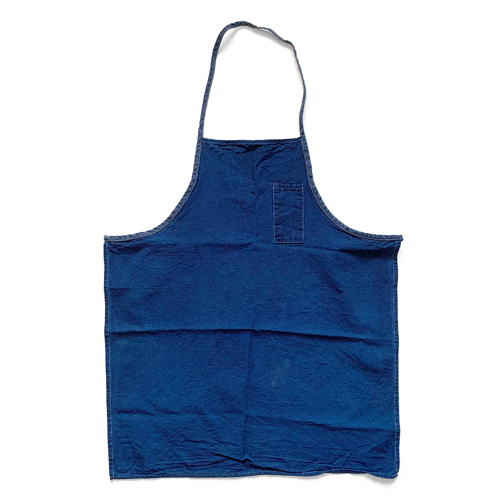 Natural Indigo Over Dyed Vintage Cotton Canvas Apron by Indiko