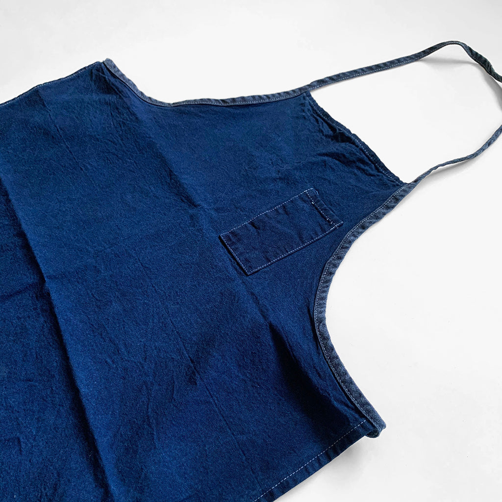 Natural Indigo Over Dyed Vintage Cotton Canvas Apron