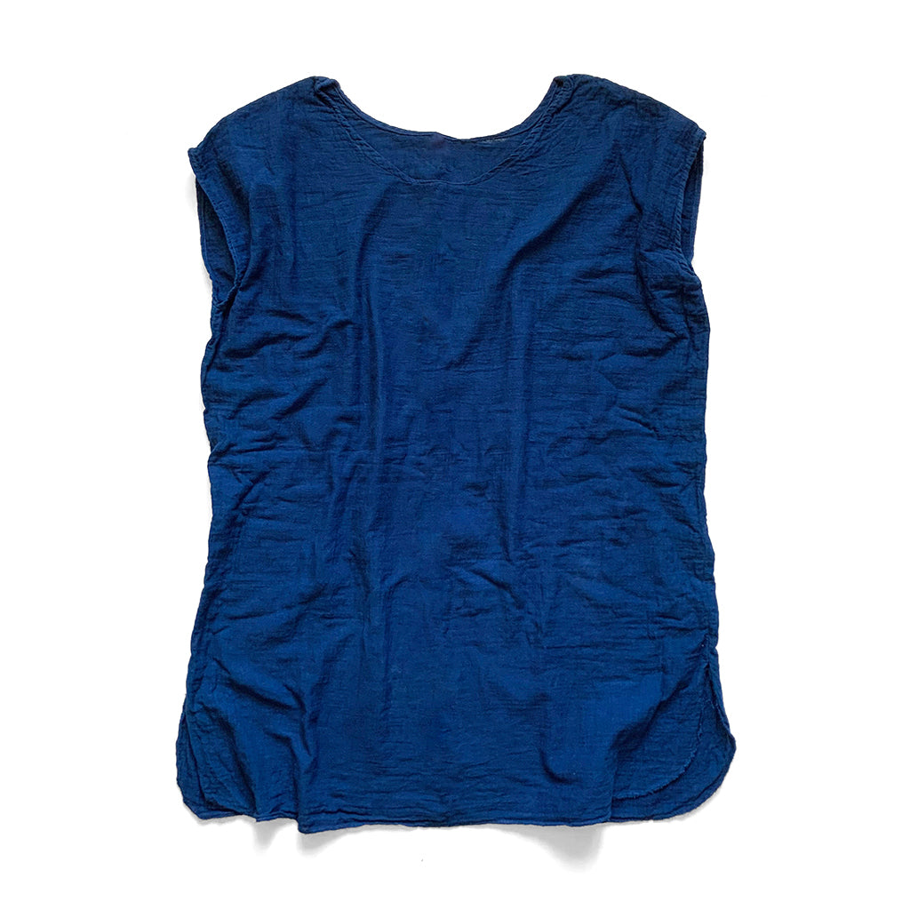 Natural Indigo Over Dyed Vintage Double Gauze Long Pullover sleeveless Shirt by Indiko