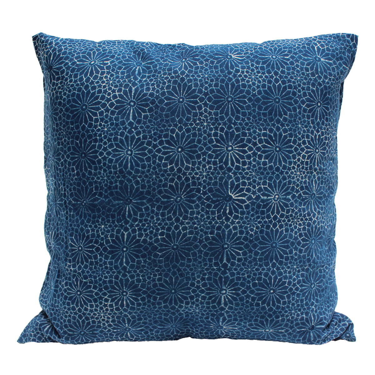 indigo dyed pillow cushion with floral aztec design in paler indigo.