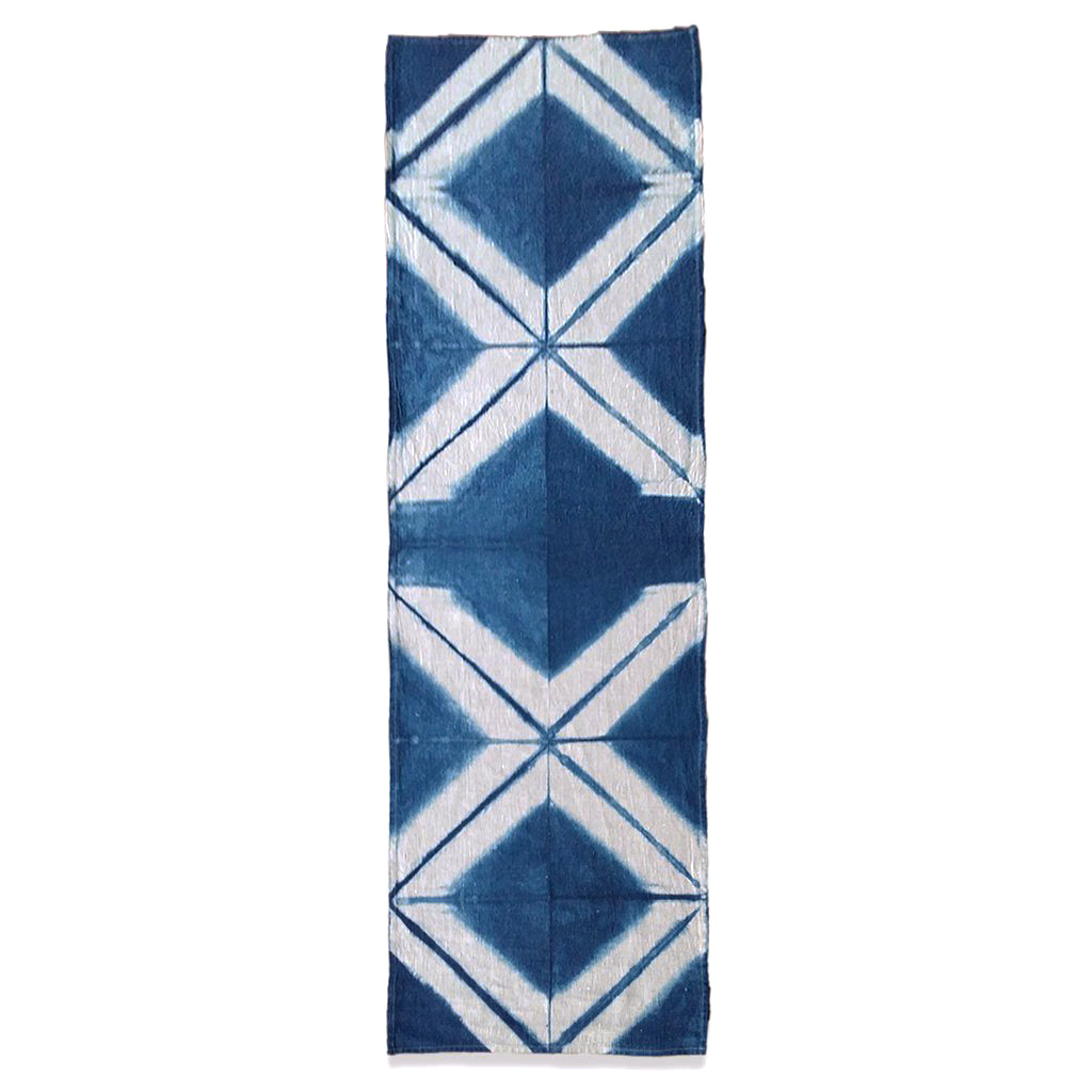 Itajime Shibori Flax Linen Table Runner