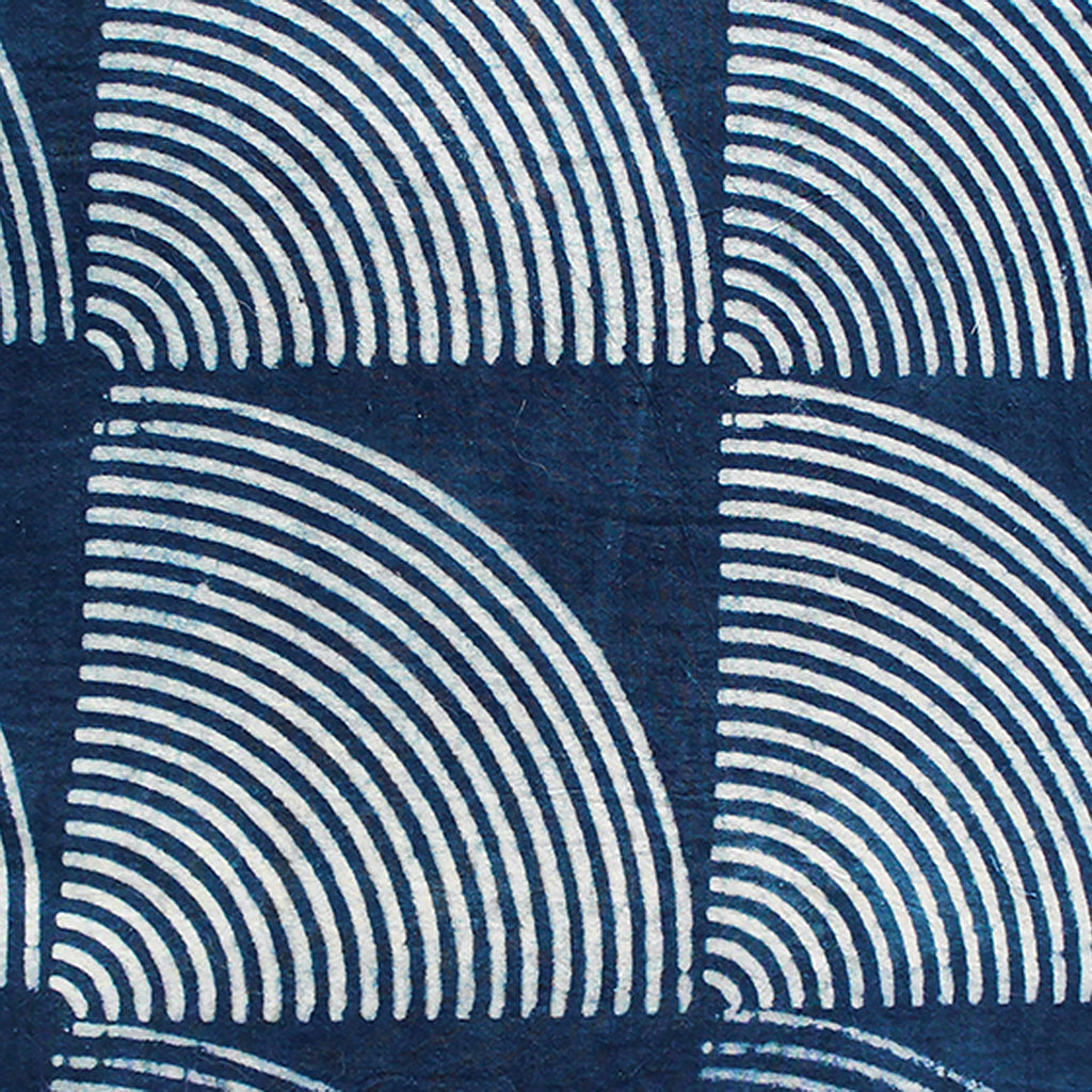 Detail of striped pattern on indigo dyed pillow