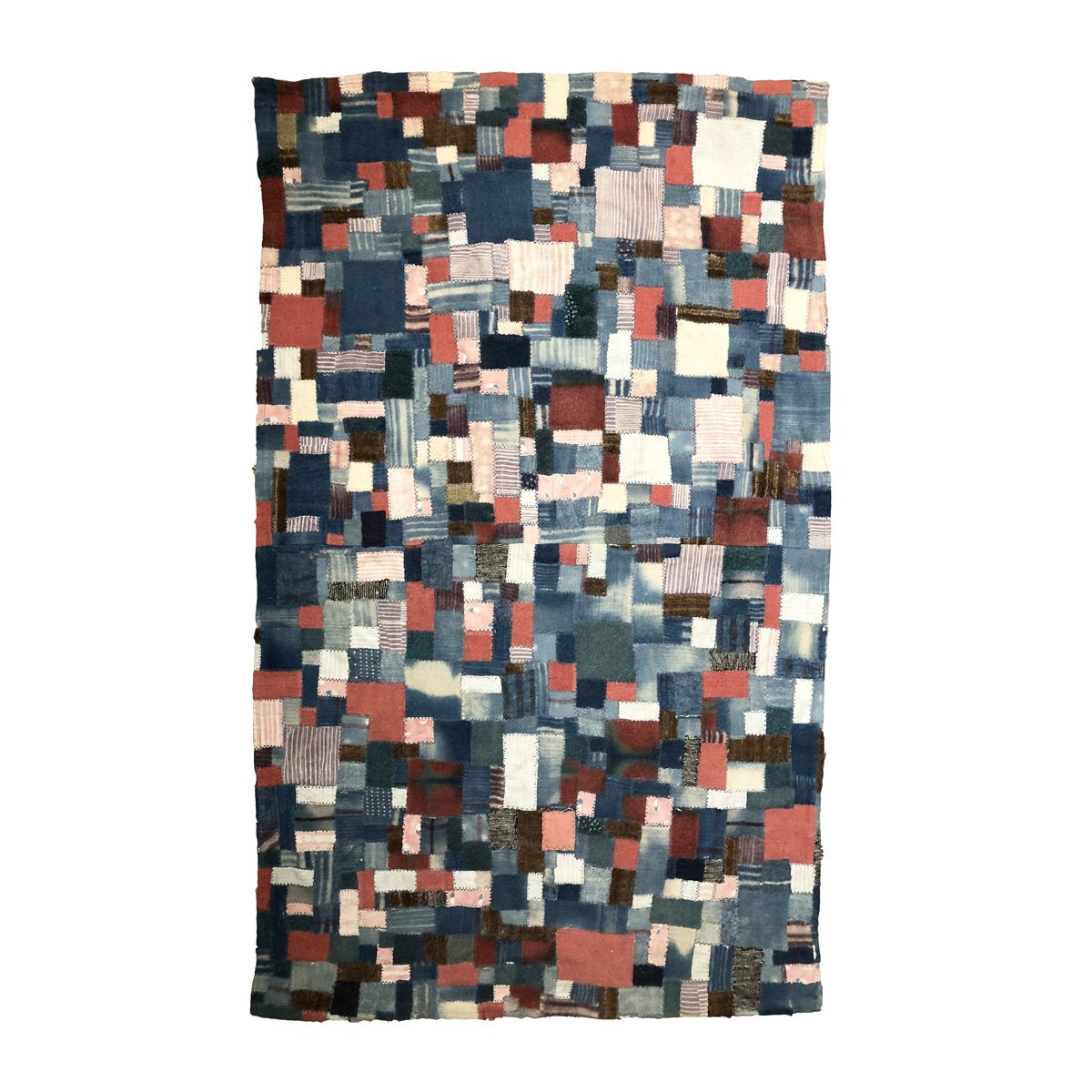 Reclaimed mini patch quilt composed from various weights and textures of mini patches in indigo, madder red, light charcoal, peach & ivory reclaimed fabric.