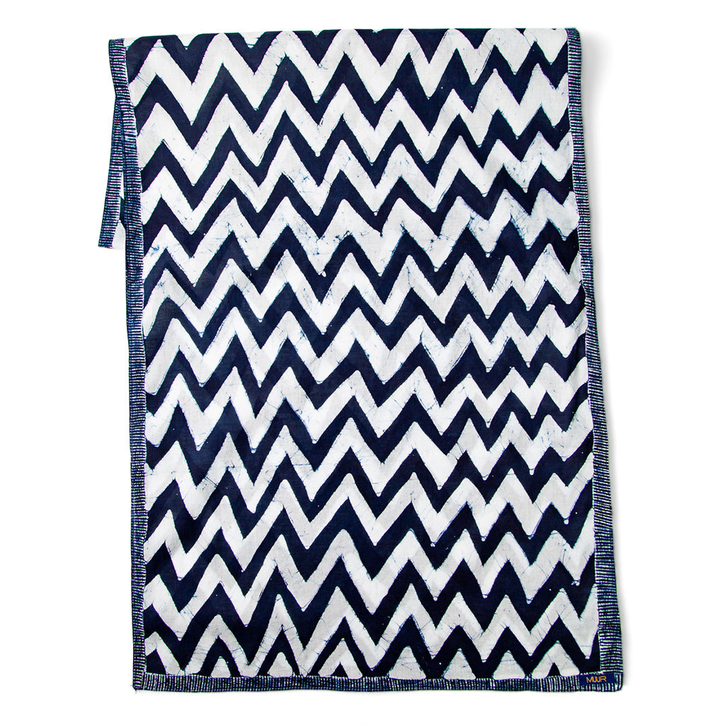 indigo and white chevron hand printed scarf with stitched edging by Muur