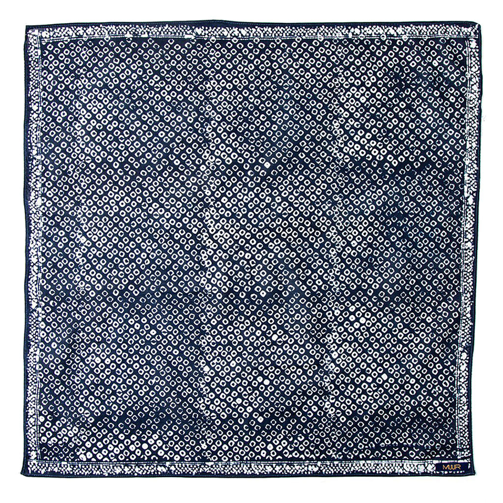 Hand painted indigo dyed bandna in dot indigo and white print with darker stitched edging by Muur