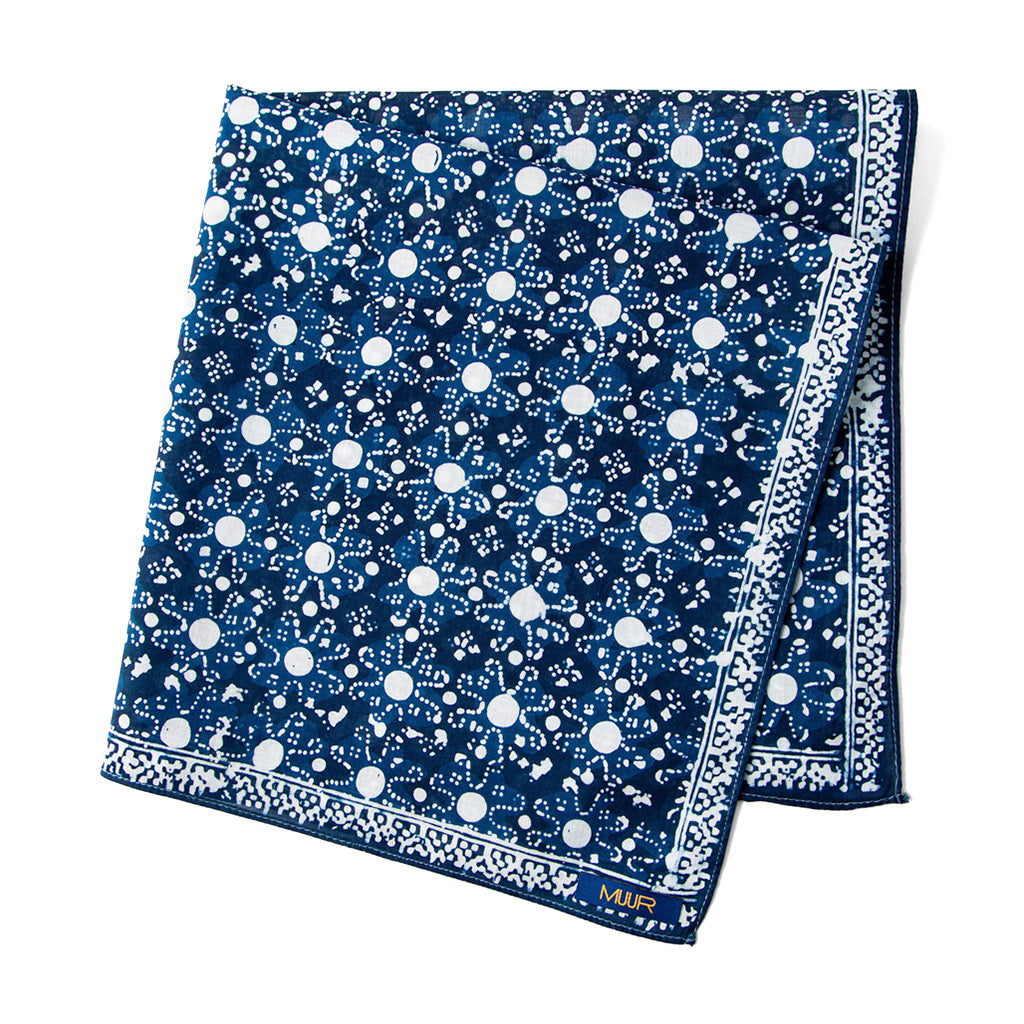 Indigo Dyed and Hand Painted Floral Bandana by Muur