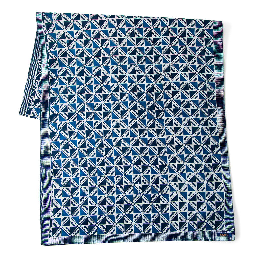 silk hand painted indigo dyed scarf in geometric print with striped edging by Muur