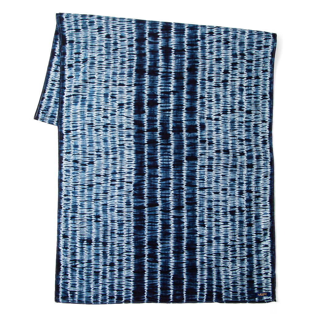 Indigo Dyed and Hand Painted Wavy Scarf