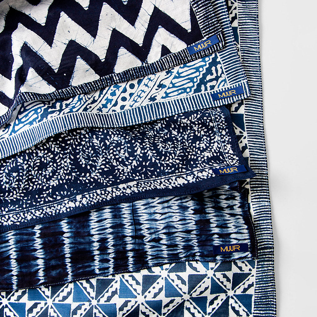 Five indigo dyed handkerchiefs by Muur