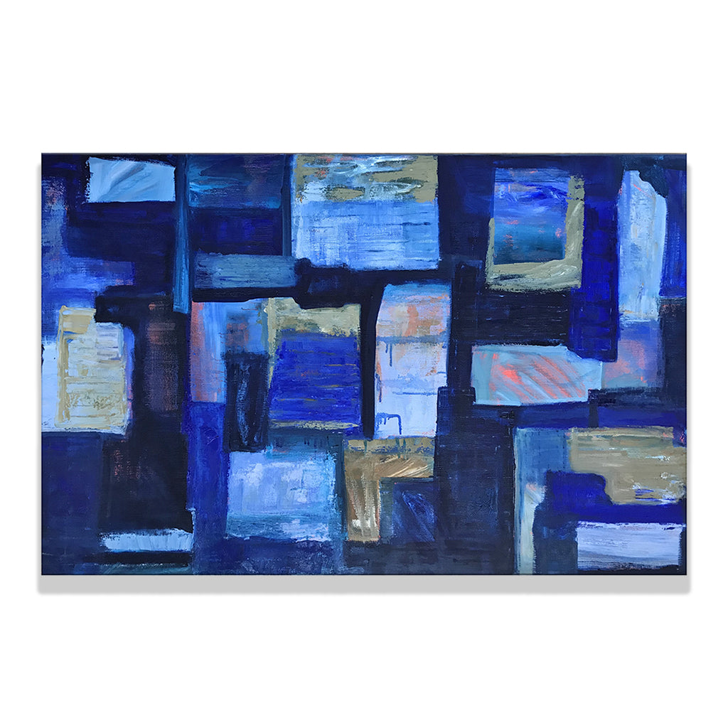Oil on linen painting by Olga Guarch titled Abstract 4. An abstract painting in various shades of indigo.