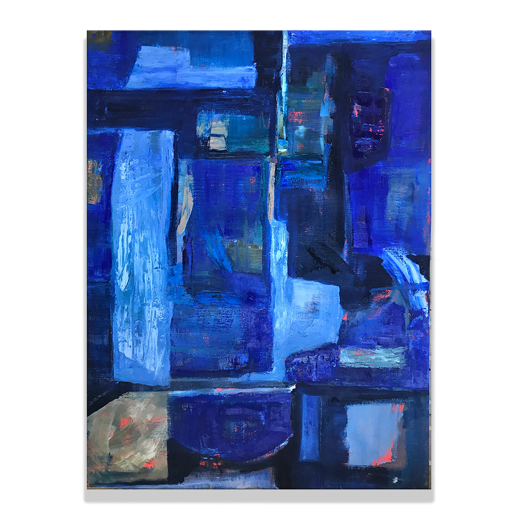 Oil on linen painting by Olga Guarch titled Abstract 5. An abstract painting in various shades of indigo.