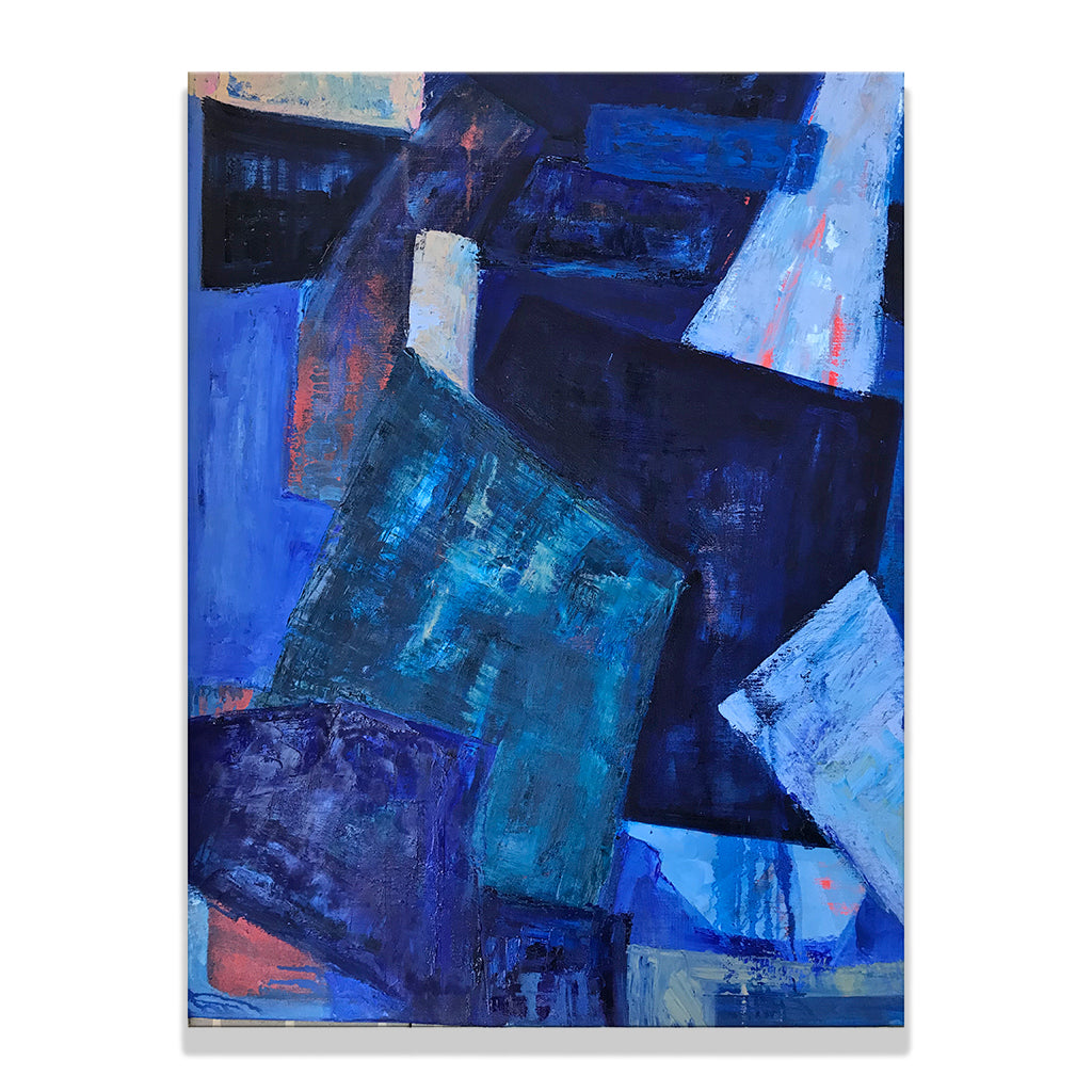 Oil and charcoal on linen painting by Olga Guarch titled Abstract 6. An abstract painting in various shades of indigo.