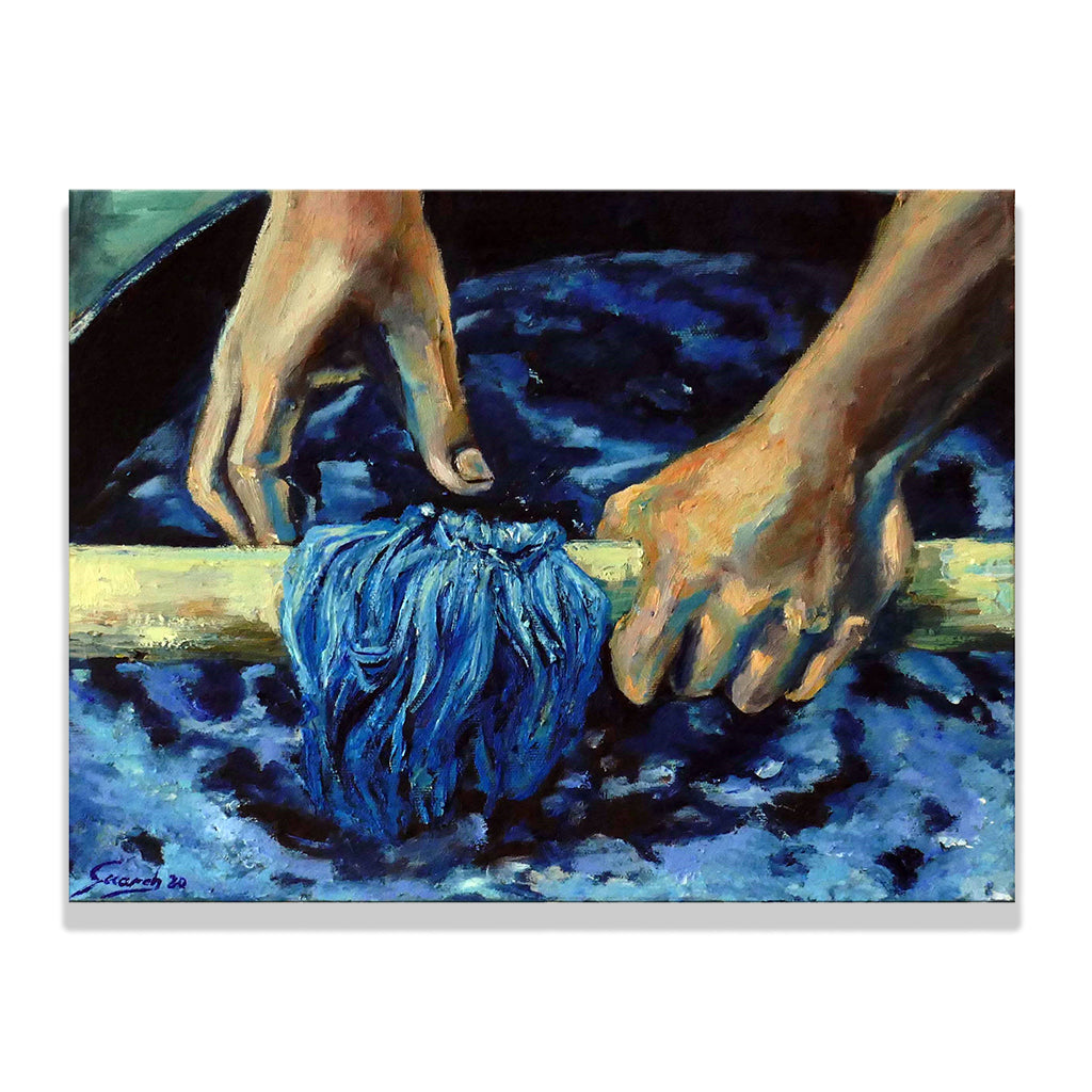 Oil on cotton canvas painting by Olga Guarch, titled Hands & Yarns showing yarn being indigo dyed by hand.