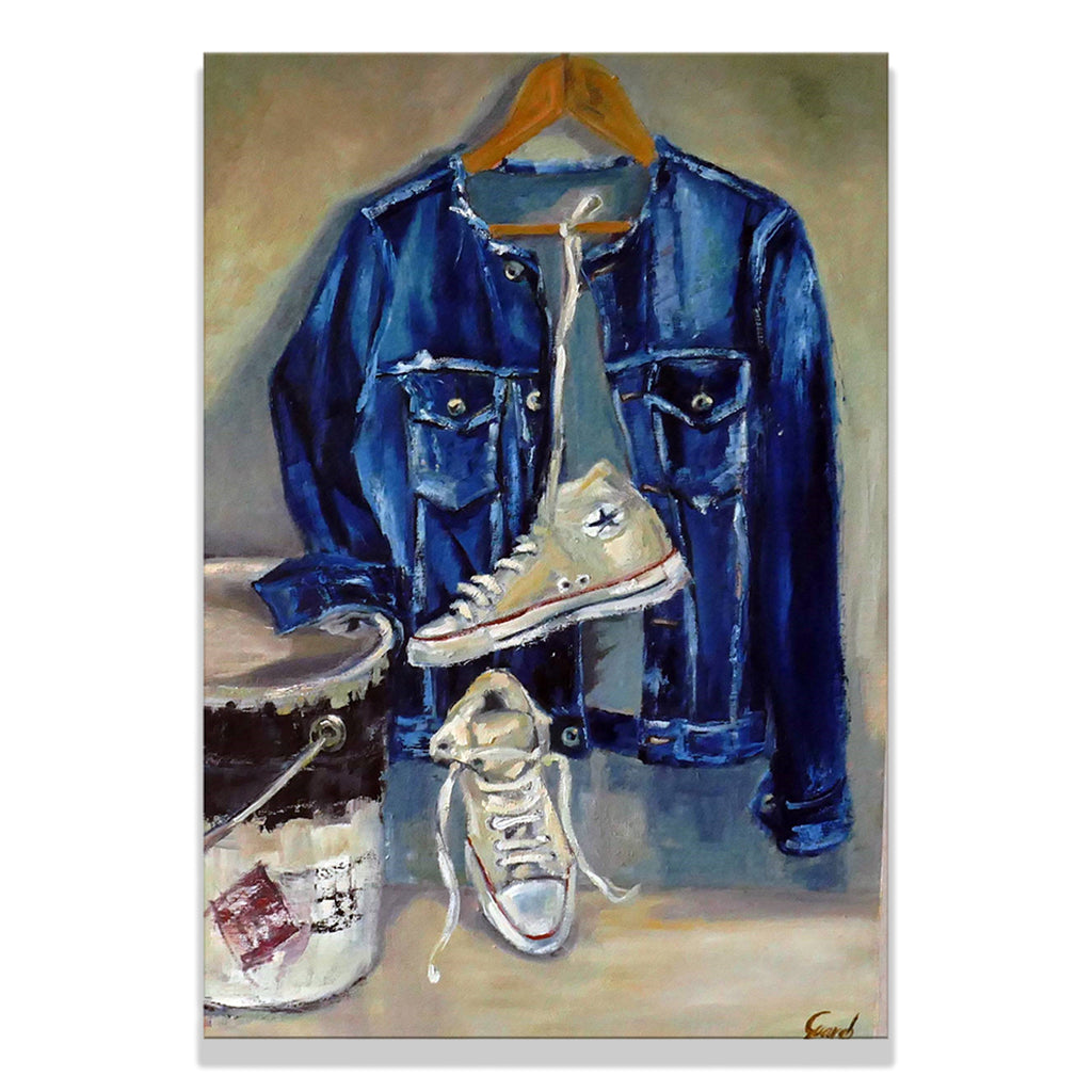 Oil on linen mounted on wooden panel painting by Olga Guarch titled Nebraska, showing blue jean jacket and white converse sneakers.