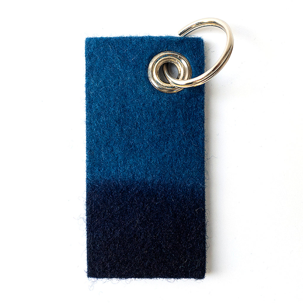 Indigo Dyed Rectangle Felt Keychain with stud and silver chain by Ricketts
