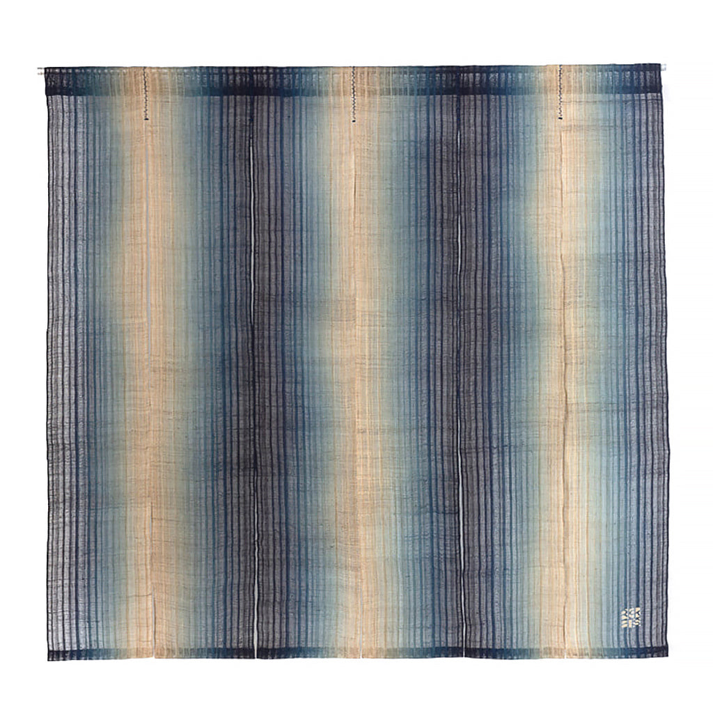 Indigo Dyed Noren fabric curtain. Dyed using indigo in a Dark to Light to Dark Gradation by Ricketts