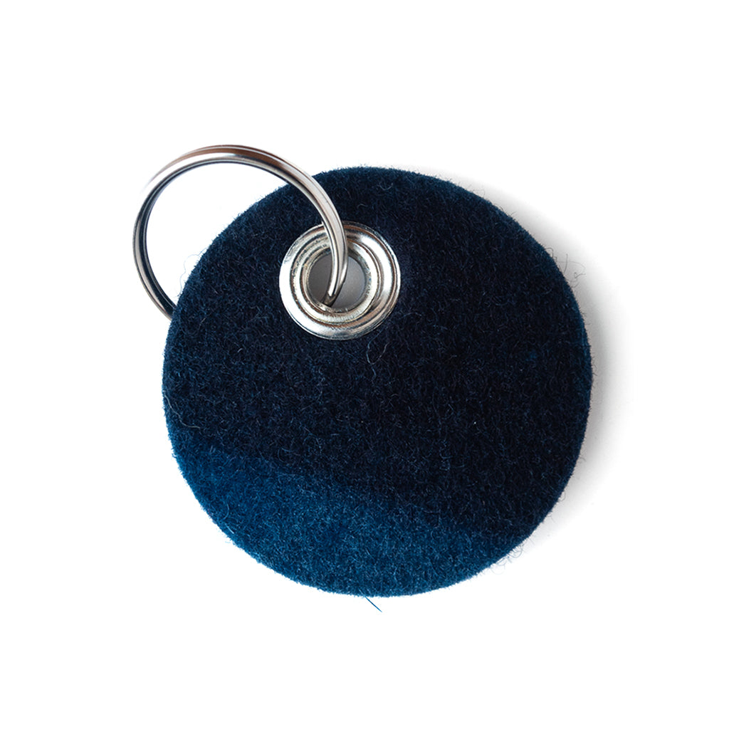 Indigo Dyed round Felt Keychain with stud and silver chain by Ricketts