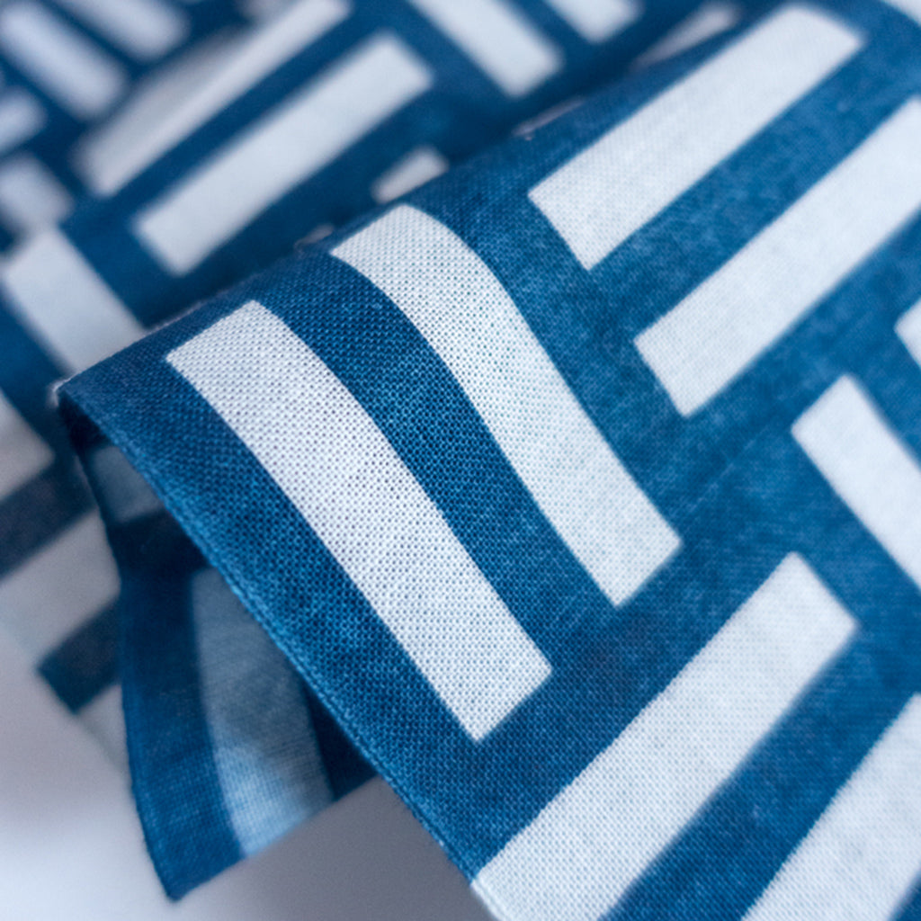 details of Indigo Dyed Basket Weave Pattern Tenugui Towel by Ricketts.