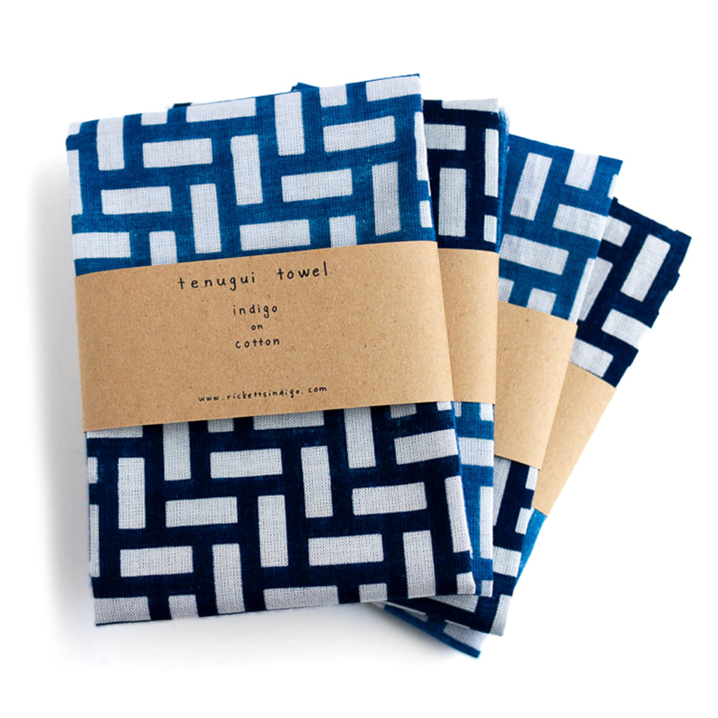 three folded Indigo Dyed Twill Weave Pattern Tenugui Towel by Ricketts