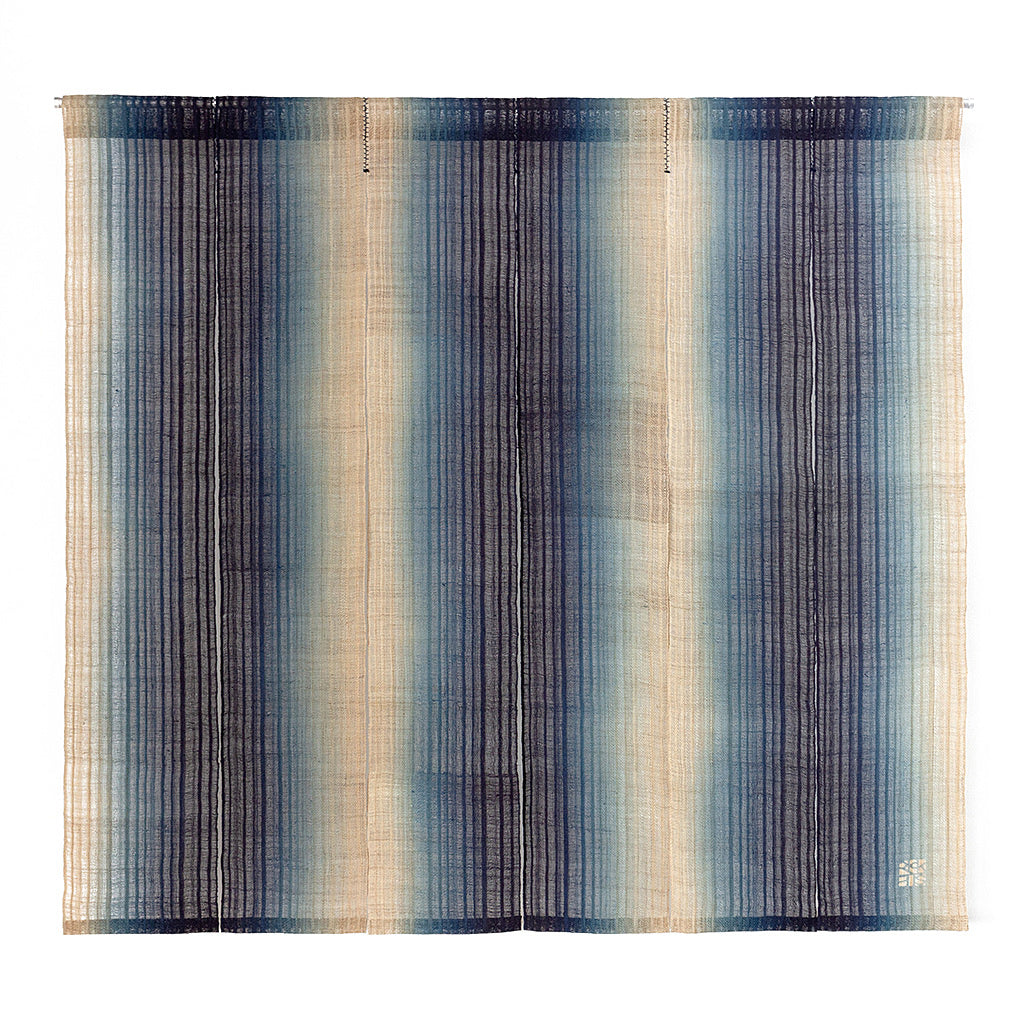 Indigo Dyed Noren fabric curtain. Dyed using indigo in a Light to Dark to light Gradation by Ricketts