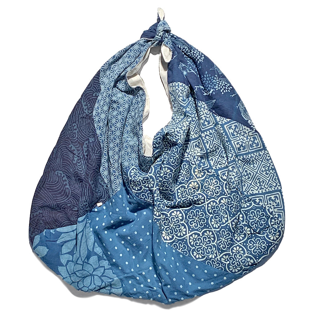 Hand Dyed Natural Indigo Patchwork Furoshiki Tote Bag Large