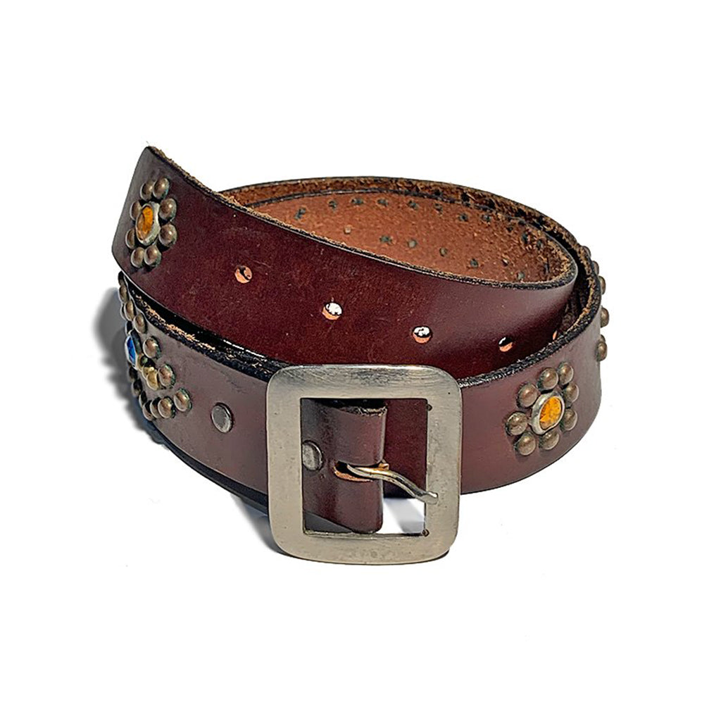 Vintage brown 1970's Leather Studded Belt with silver buckle.