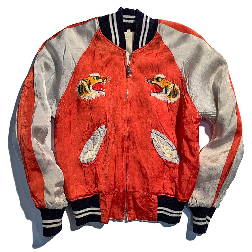 "Vintage 1970's ""America"" Sukajan Souvenir Jacket. Red rody with grey sleeves and tiger logo on each breast pocket"