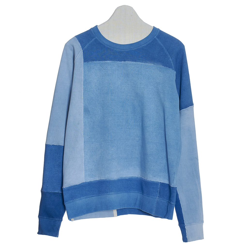 Mens loose fit patchwork sweatshirt in shade of indigo