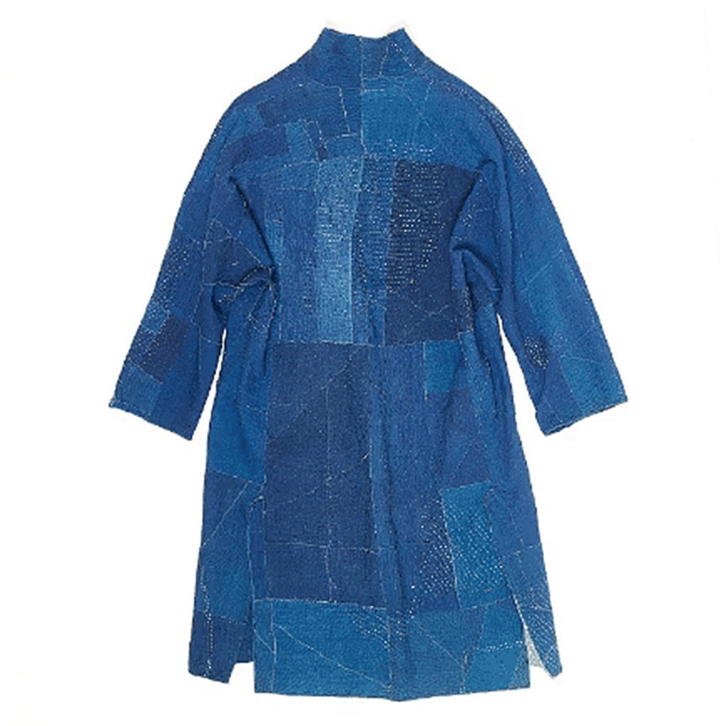 Blue and indigo reversible patchwork kantha oversized coat