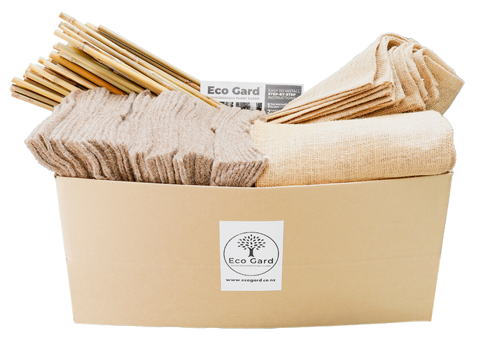 Box of 50 Eco Gards with wool mulch mats and stakes, including installation guide