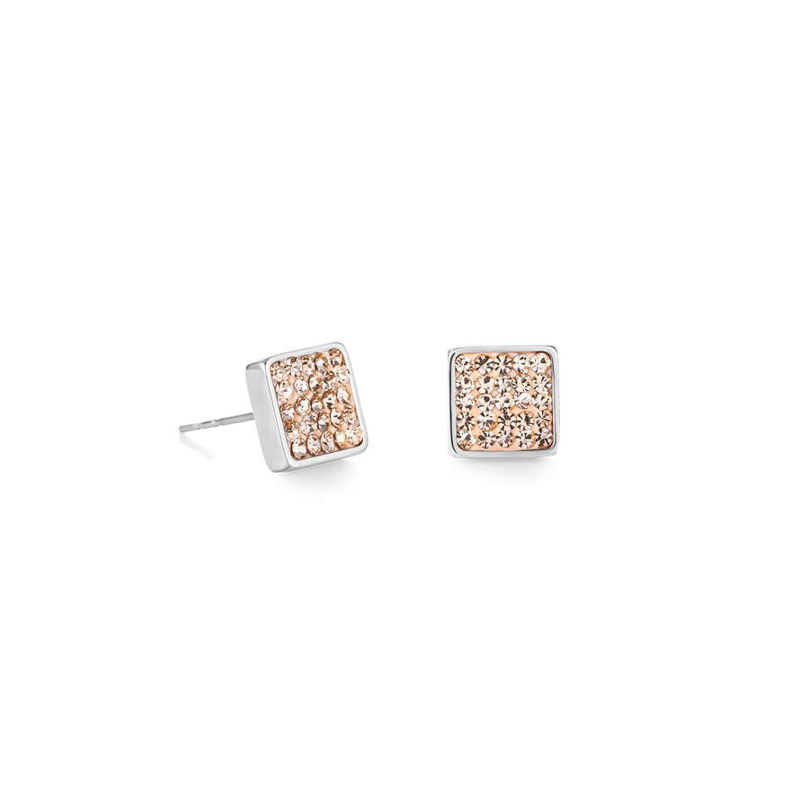 Earrings stainless steel & crystals pavé peach