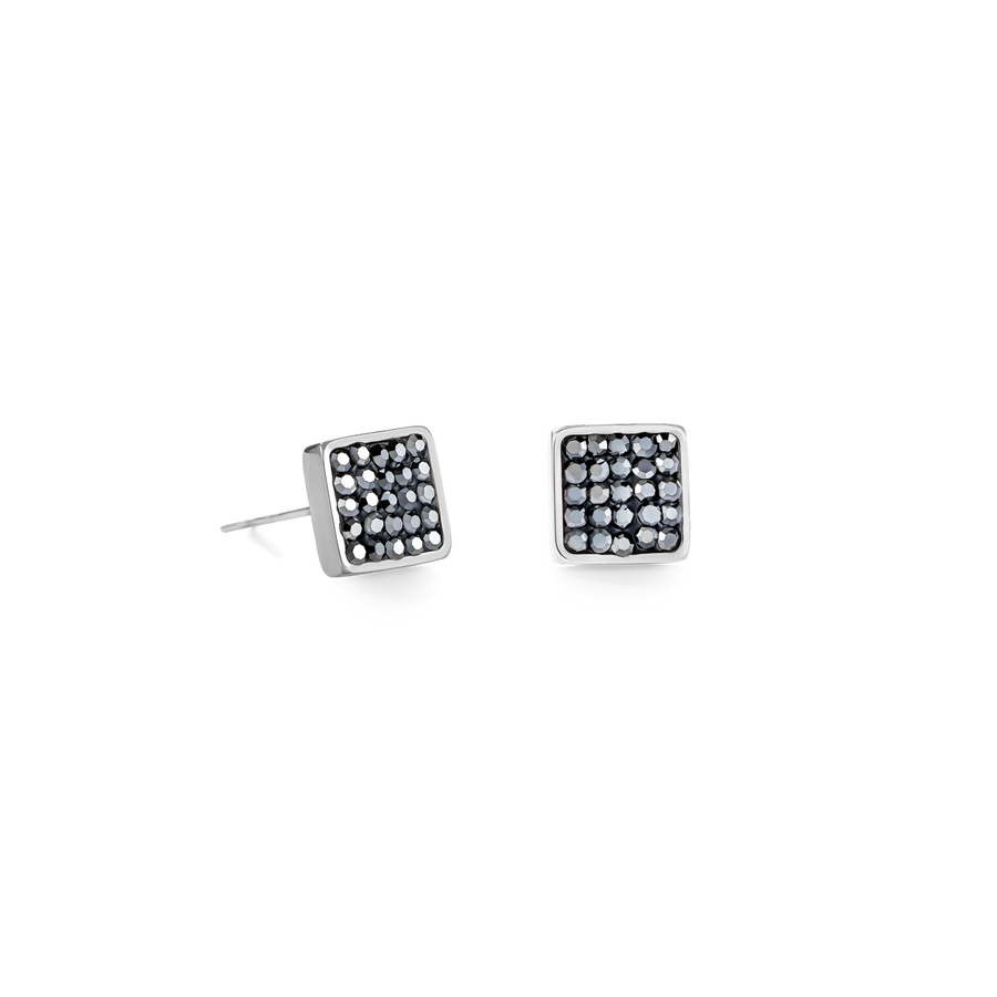 Earrings stainless steel & crystals pavé anthracite