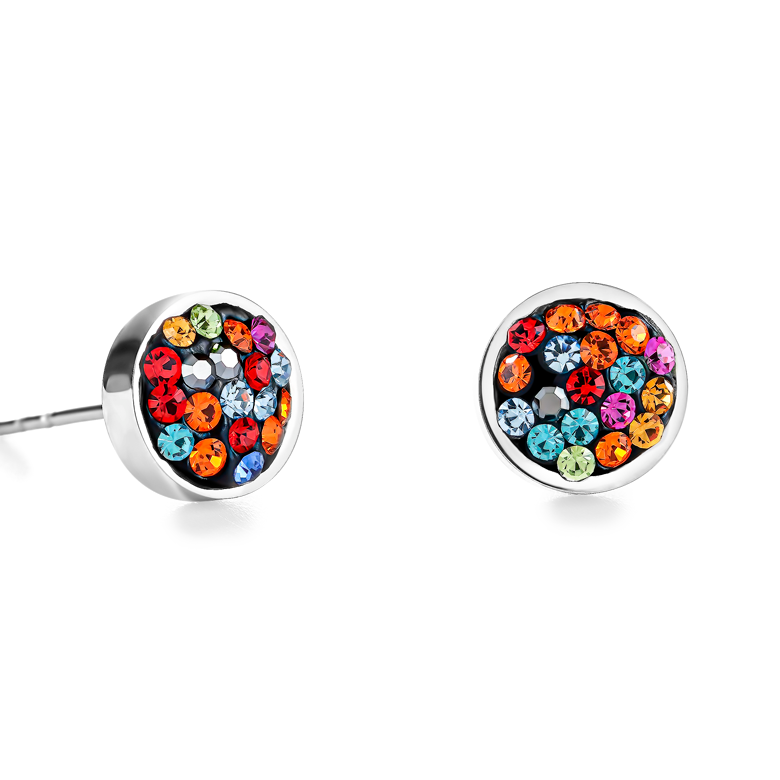 Earrings stainless steel & crystals pavé multicolour