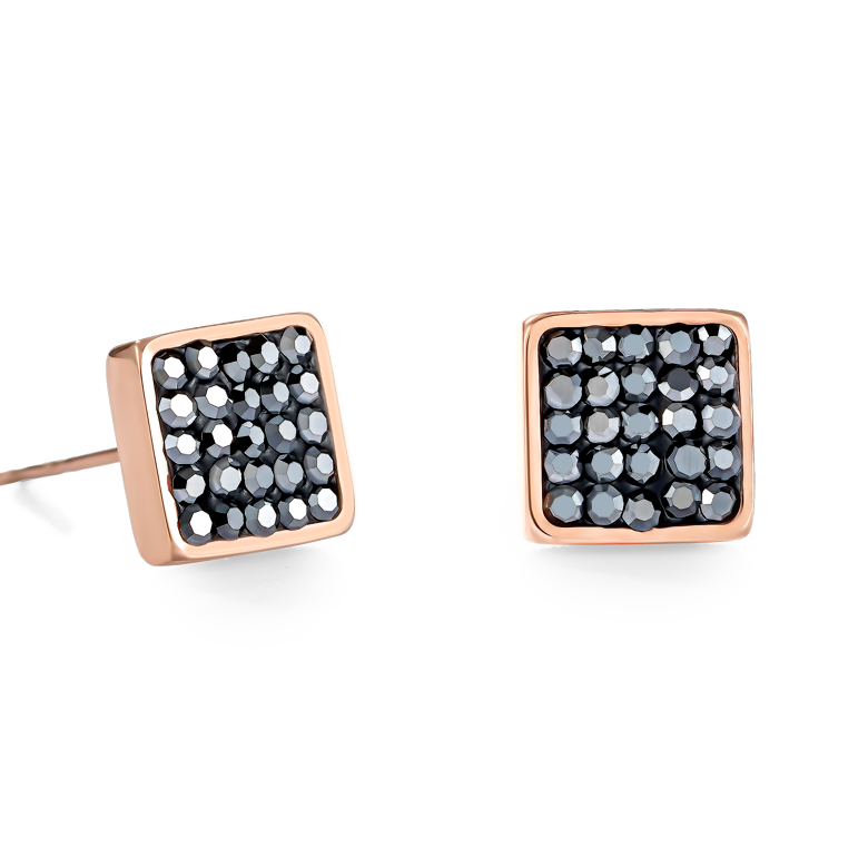 Earrings stainless steel rose gold & crystals pavé anthracite