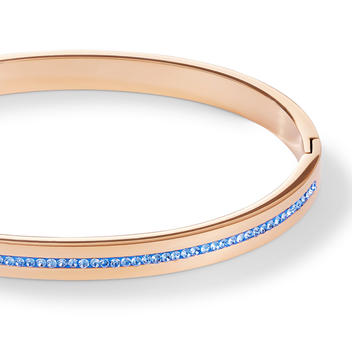 Bangle stainless steel rose gold & crystals pavé strip light blue