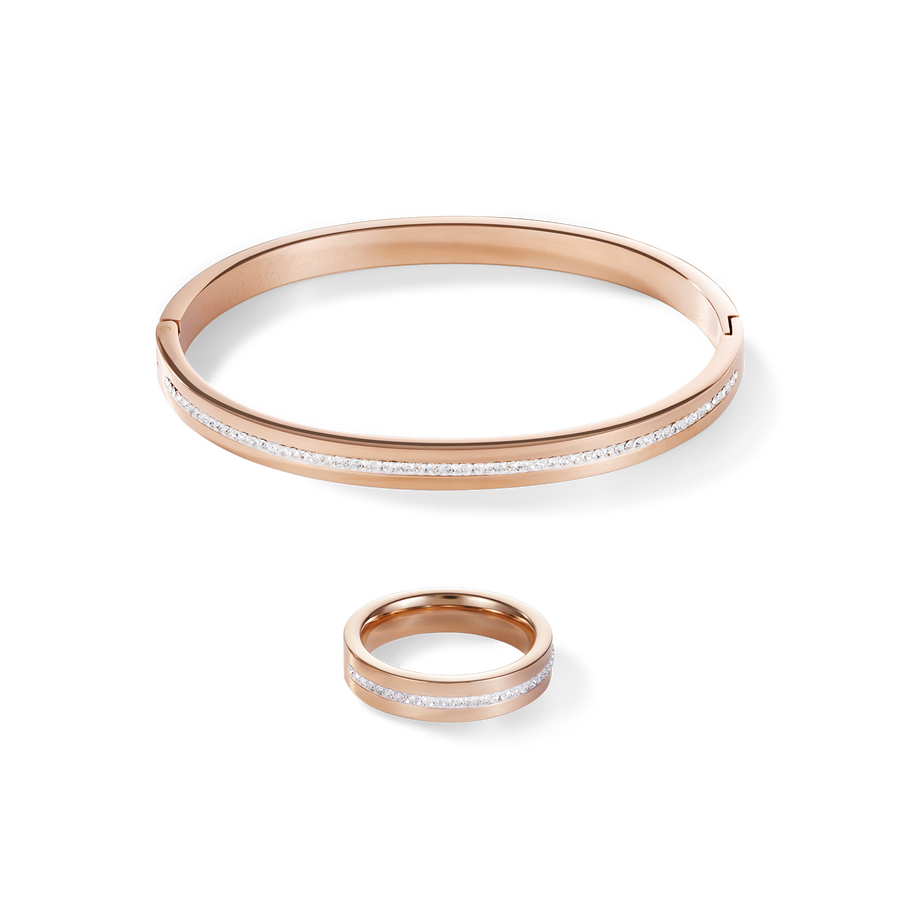 Bangle stainless steel rose gold & crystals pavé strip crystal