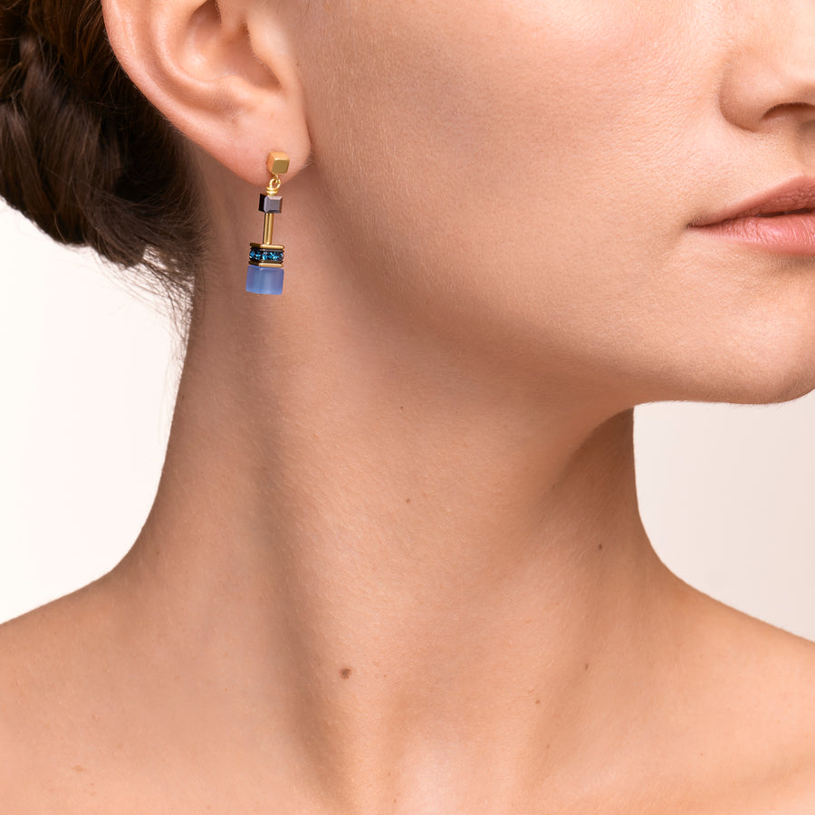 GeoCUBE® Earrings blue-gold